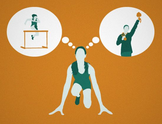 Graphic of woman ready to run in a competition